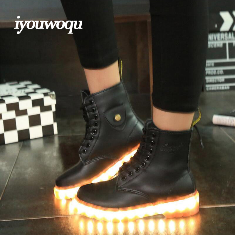 Fashion Men and Women Led Shoes 2016 New Adult Led Light Shoes 7 Colors USB Rechargeable Lithium Battery Casual Boots(China (Mainland))