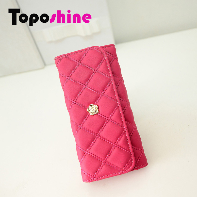 2015 PU Leather Women Wallet New Fashion Rose Red Black Pink Girl Purse Quilted Lining Casual Lady Clutch Bag CY-81886(China (Mainland))