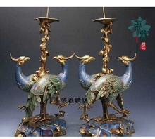 Copper Brass CHINESE crafts decor ation Asian   Bronze Cobre Cloisonne 24 K Do Do Ouro Candlestick Par(China (Mainland))
