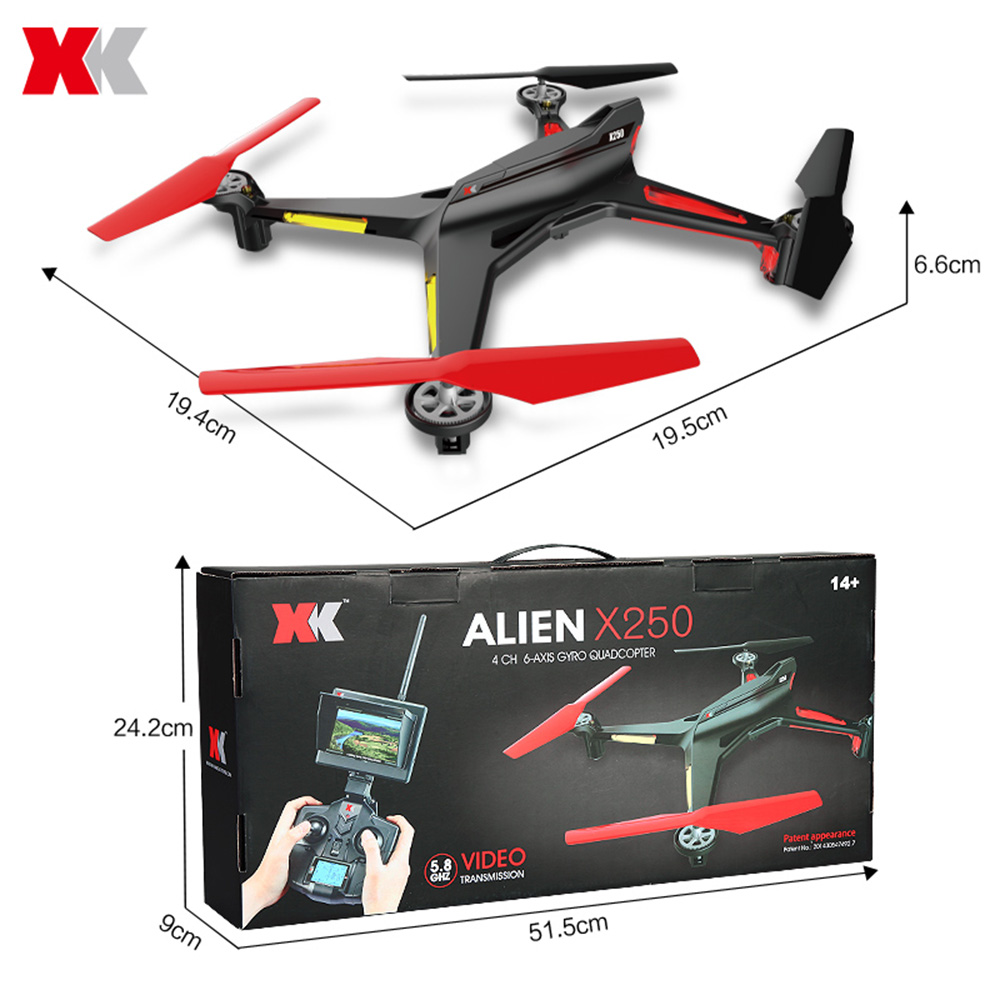 XK X250 - A RC Drone With HD 2.0MP CAM 5.8GHz FPV 2.4G 4 CH 6-axis Gyro Remote Control Quadcopter Professional RC Helicopter Toy(China (Mainland))