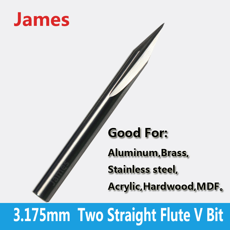 1pc 3.175mm SHK Two Flutes Straight V Bits Hardwood Processing Double Flutes Straight V Engraving Tools Milling Cutter(China (Mainland))