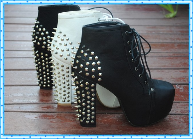 platform boots new lace up platform pumps fashion ankle boots for women shoes chunky high heels shoe rivets spikes 35-41 C467<br><br>Aliexpress