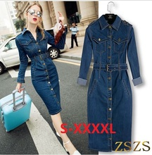 New 2016 Women Denim Long Dress Slim Big Size Jeans Dress One-piece Cowboy Dress 4XL With Belt For Women jeans maxi dress(China (Mainland))