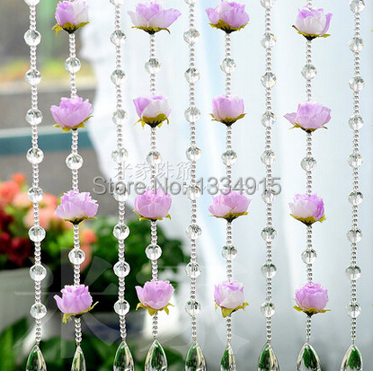 Free shipping Finished product 1m simulation flower cut crystal bead curtain can be customized crystal curtain porch partition(China (Mainland))