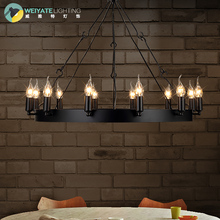 American country retro industrial Loft restaurant 12 head round table Candle Chandelier chandelier Samurai iron ring(China (Mainland))