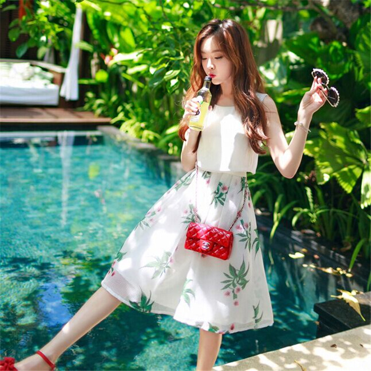 In the summer of 2015 the new false two-piece printed sleeveless dress skirt teamed in womens clothing wholesaleОдежда и ак�е��уары<br><br><br>Aliexpress