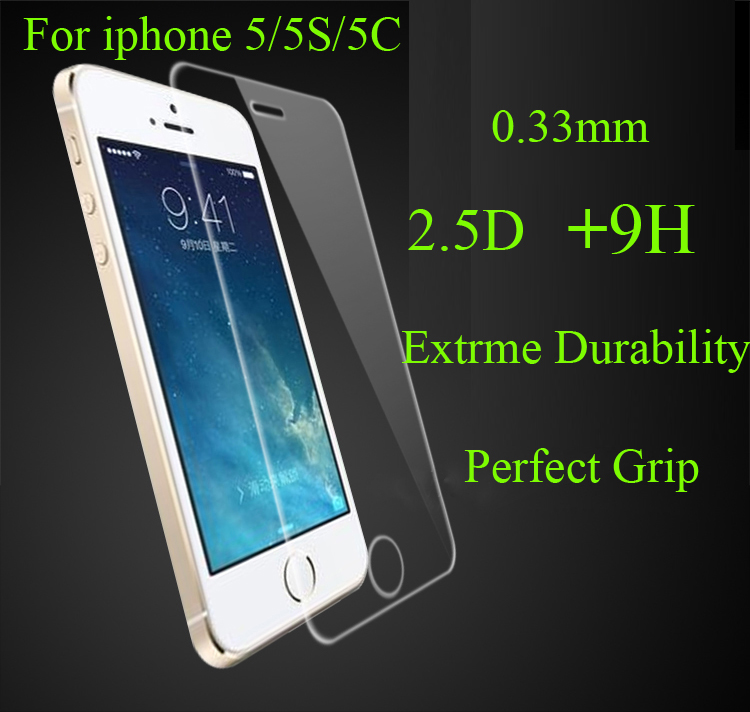4S 5S 0.3mm 2.5D 9H Premium tempered Glass screen LCD protector Flim iphone 4 4G Retail package,10