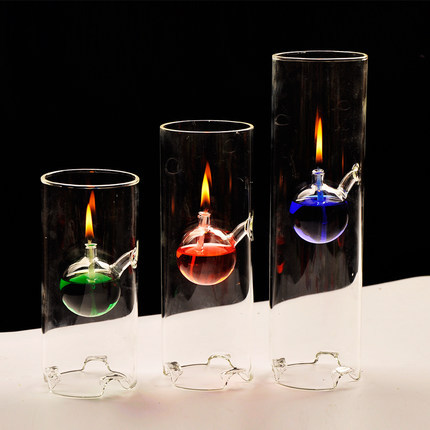 Handmade creative transparent glass bottom cylinder oil for Creative candle holders