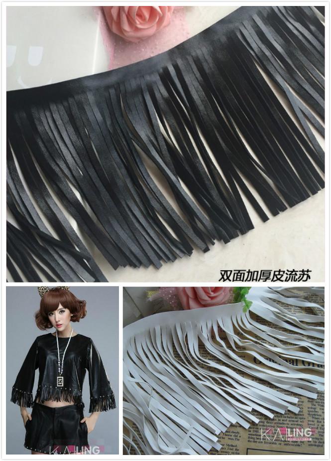 3 Yard/Lot Black white leather tassel fringe lace trim skirt clothing accessories DIY lace fabrics width 10-19cm(China (Mainland))