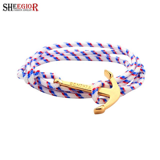 Золото якорь браслет femme чешские wrap многослойных веревка шарм браслеты & ...