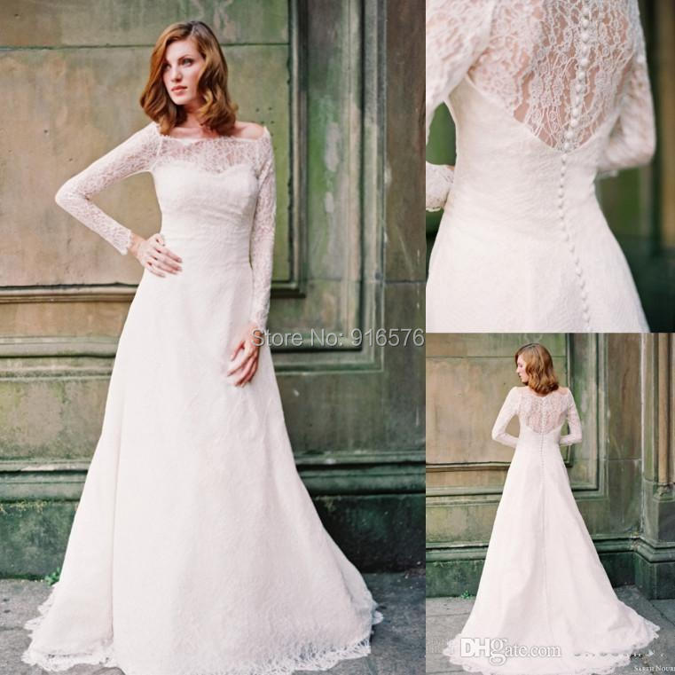 Buy long sleeves wedding dresses lace for Cheap long sleeved wedding dresses