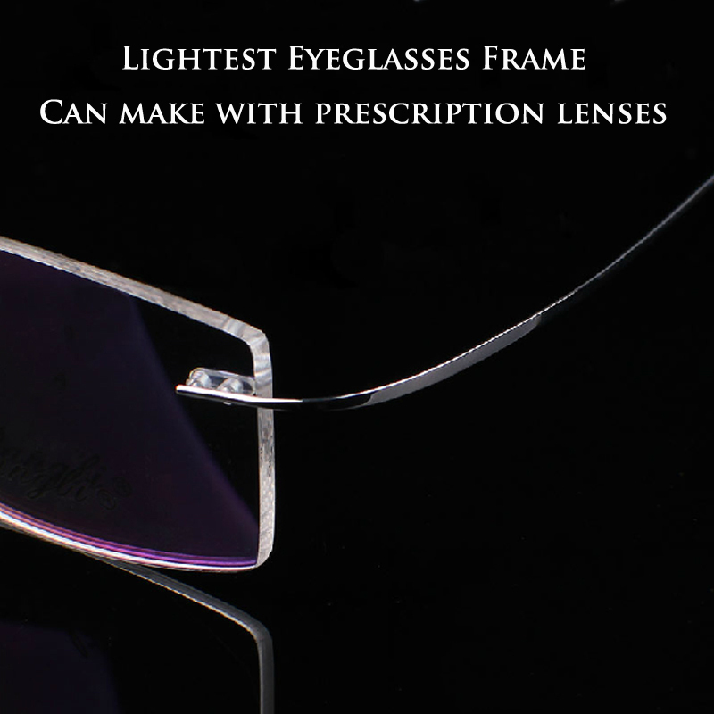 8 Colors Ultralight Memory Titanium Rimless Glasses Frame Myopia Optical Eyeglasses Frame can make 1.56, 1.61 prescription lens(China (Mainland))