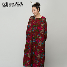 Jiqiuguer Brand Women Floral Winter Dress Long Sleeve Mid-calf-Long Dress 100 Cotton Pullover Thicken Dress Warm G153Y013(China (Mainland))