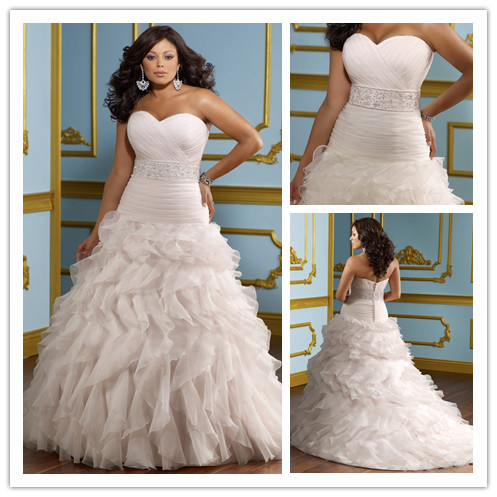 Sweetheart Tiered Plus Size Modern Wedding Dresses 2014 Robe De Mariee ...