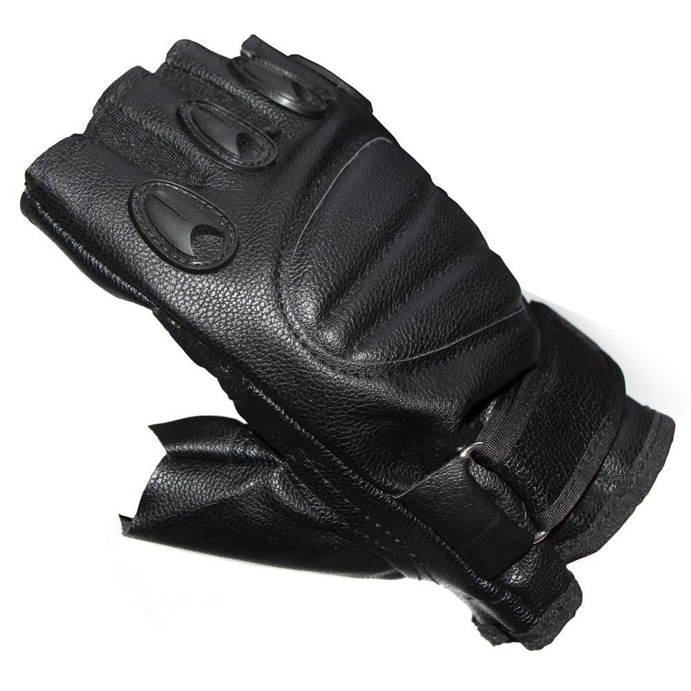Quality PU Leather Summer Motorcycle Gloves Black Half Finger Motorbike Motos Protective Gym Military Racing Glove Free Shipping(China (Mainland))