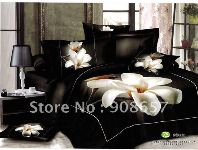 100% Cotton white orchid flower black background floral pattern Printed Duvet Quilt covers Queen bed in a bag set 4pc with sheet