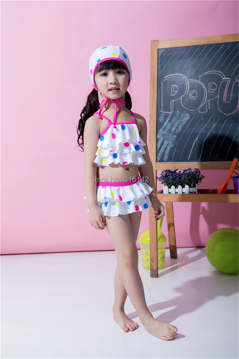 Free Shipping Layered Costumes Color Dots Bikinis Children Swimwear Swimwear/Girls 5set/lot 3T-7T<br><br>Aliexpress