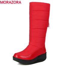 MORAZORA 2017 zapatos de plataforma de la mujer las mujeres de Gran tamaño de invierno de nieve botas de punta redonda de cuero suave de la pu caliente abajo a mediados de la pantorrilla botas(China (Mainland))