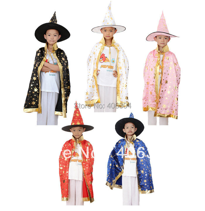 Free shipping ,halloween party witch cape ,cloak ,black ,red, pink,white.blue children cape+hat ,75cm length(China (Mainland))