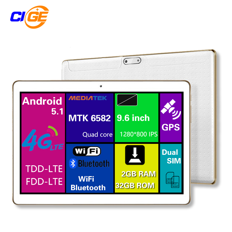 "9.6"" Tablet PC 2GB RAM 32GB ROM Android 5.1 Tablet 9.6 inch Tablets Support Call Dual SIM 4G Quad Core 1280*800 IPS Tablette(China (Mainland))"