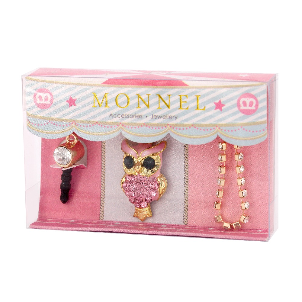 IP229-M0316 Cell Phone Charm Anti Dust Plug Crystal OWL Accessory for iPhone 5 5s 6 6s, ipods, ipads(China (Mainland))