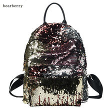 Buy BEARBERRY 2017 Sequins Women leather Backpacks Bling large size Female Fashion Backpack Bag Girls School bags travel bags for $17.24 in AliExpress store