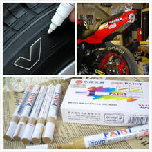 12pcs/lot White Car Motorcycle Tyre Tire Tread Rubber Paint Marker Pen Whatproof Permanent Free Shipping(China (Mainland))