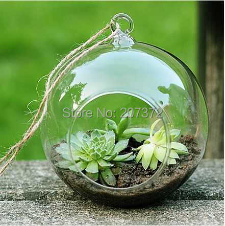 4pcs/ lot,Transparent,Dia6-12cm Terrarium Borosilicate Hanging Glass Flower Vase & Round Tabletop Vases Home&Wedding Decoration(China (Mainland))