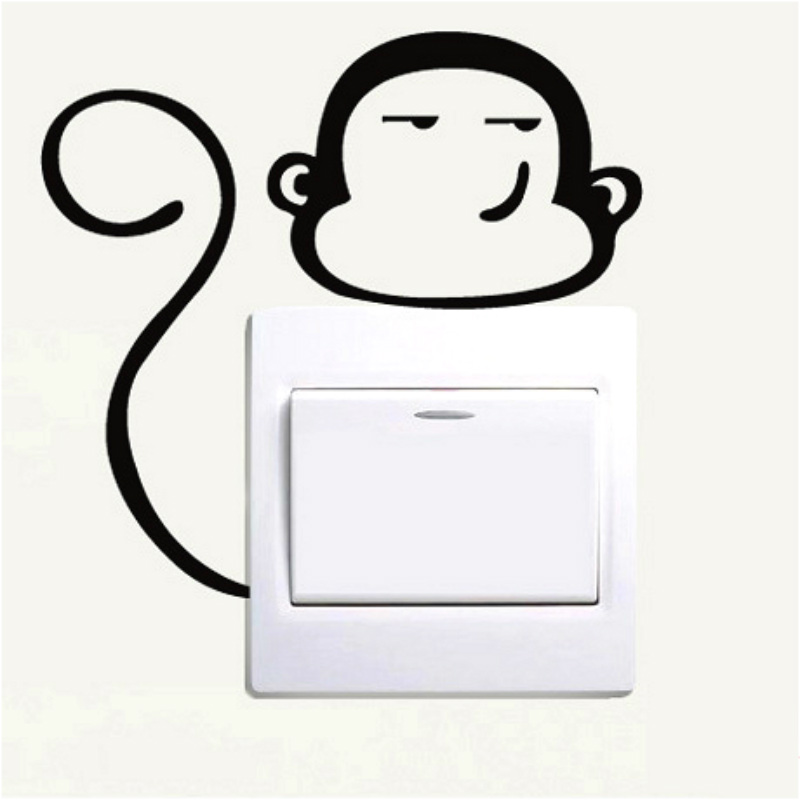 funny mini monkey vinyl decal,light switch kids room decor wall sticker free ship(China (Mainland))
