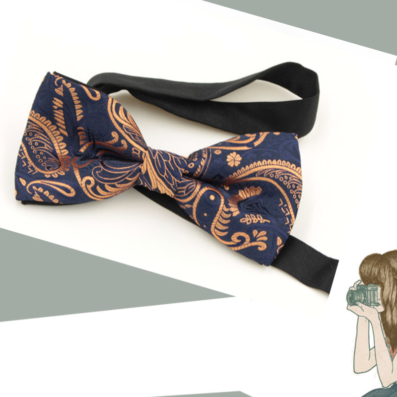 Fashion Paisley Floral Bow Ties For Men Women Butterfly Striped Bowtie Classic Gravata Cravat Blue Pattern Bow ties(China (Mainland))