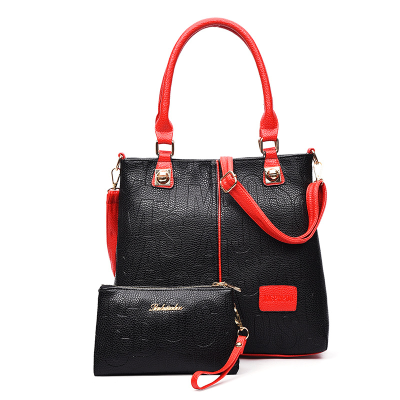 Fashion Women PU Leather Handbags 4 Colors Shoulder Bags Letter Pattern Tote Bag Red White Black Blue Bags For Ladies(China (Mainland))