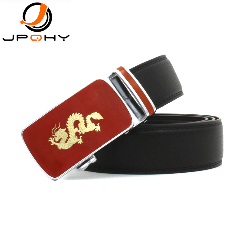 {JPQHY} Men's Genuine Leather Belts Chinese Red and Golden Dragon Alloy Automatic Buckle Gentlemen's Fashion Strap jmg066(China (Mainland))