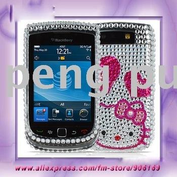 For Blackberry Case Hello Kitty Bling Rhinestone Plastic Hard Full Case Cover For Blackberry Torch 9800 Case Free Shipping