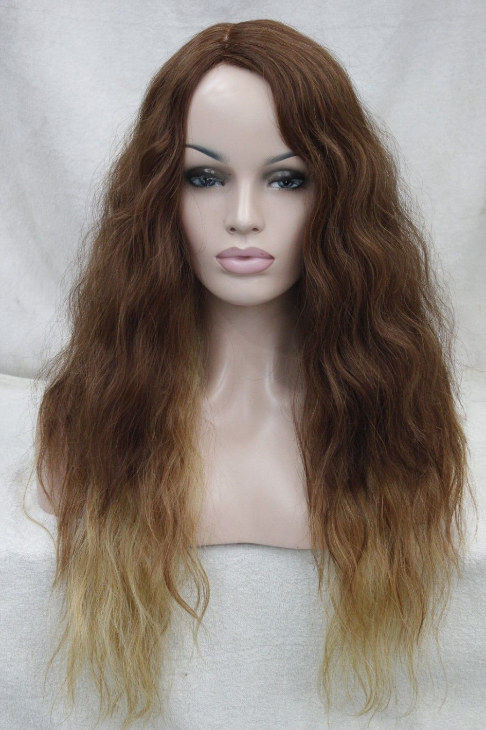 Фотография 0000120 High-end Medium Auburn And Blonde & mix Wavy Heat Friendly Quality Hair Long wig