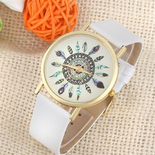 Delicate Womens Watches Fashion Feather Dial Leather Band Quartz Analog WristWatches relogio feminino Hot Selling