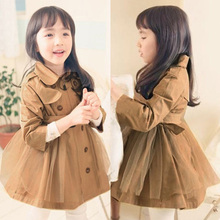 wt-1060 2015 spring Korean version of the new double-breasted Girls Children dress windbreaker Trench
