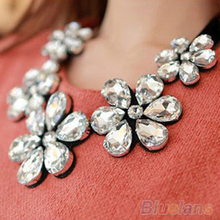 New Fashion exquisite Flower Ribbon Gem Petals charming Bib collar Necklace jewelry items 1CP9