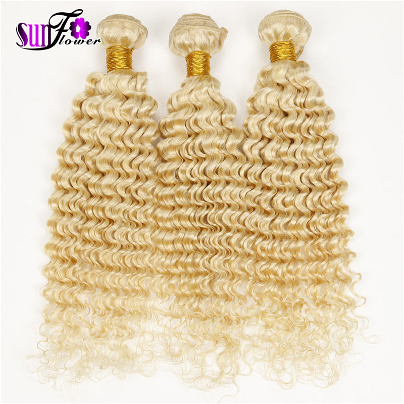 Blond 613 Hair Bundles Mongolian Deep Curls Virgin Human hair 7a Bleach Blonde 613 Mongolian Hair Weave European Hair Extensions(China (Mainland))