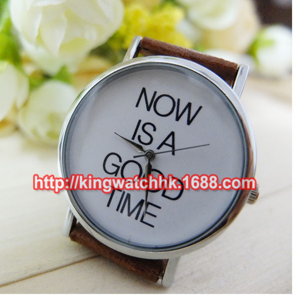 2015 New Arrival Fashion Personality Unisex Casual Watches NOW IS A GOOD TIME Dress Wristwatch 10pcs/lot(China (Mainland))