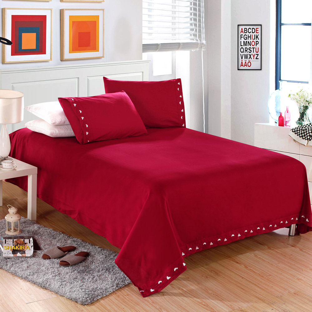 2016 USA Free Shipping Solid BEDDING 4PCS Bedding Set pillowcase queen king size QUILT COVER BED SET(China (Mainland))
