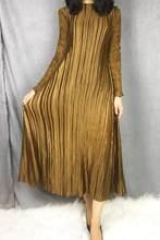 LANMREM высокое качество 2019 Новая мода кружева полный рукав лоскутное круглый воротник Плиссированное женское длинное платье Vestido YE699(China)