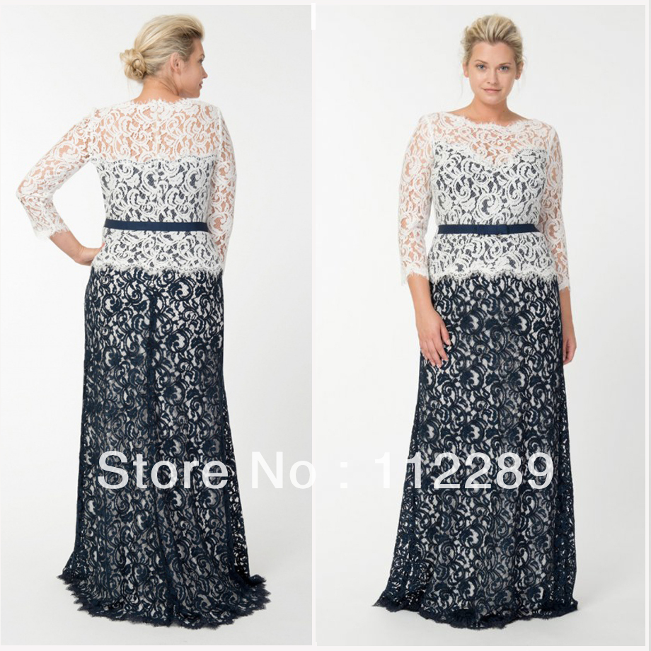 Elegant blue and white long sleeve lace plus size wedding for Long sleeve plus size wedding dress