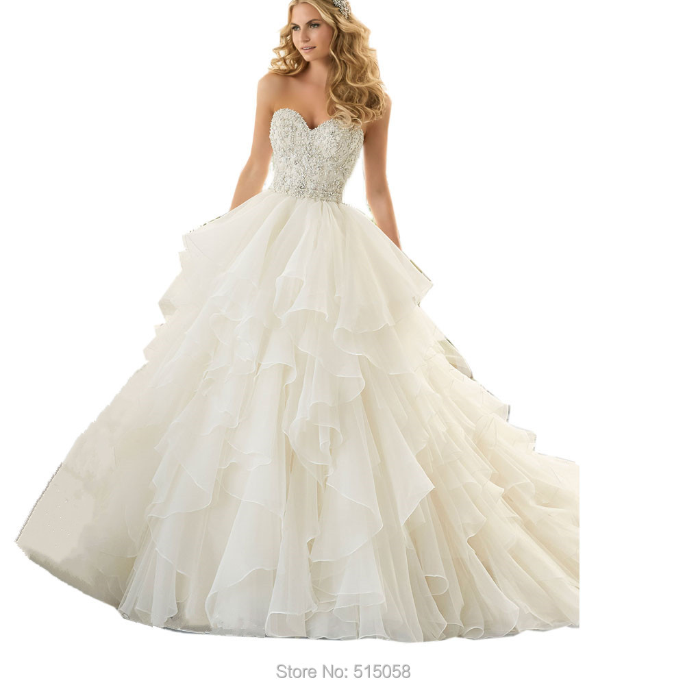 Bling bling crystal beaded sweetheart organza ruffles for Wedding dresses with ruffles