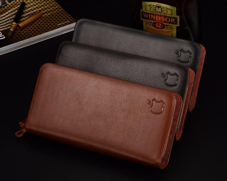 100% BrandHandbag Genuine Leather Purse Men Fashion Clutch Men wallets Black Coffee colour Carteira M03(China (Mainland))