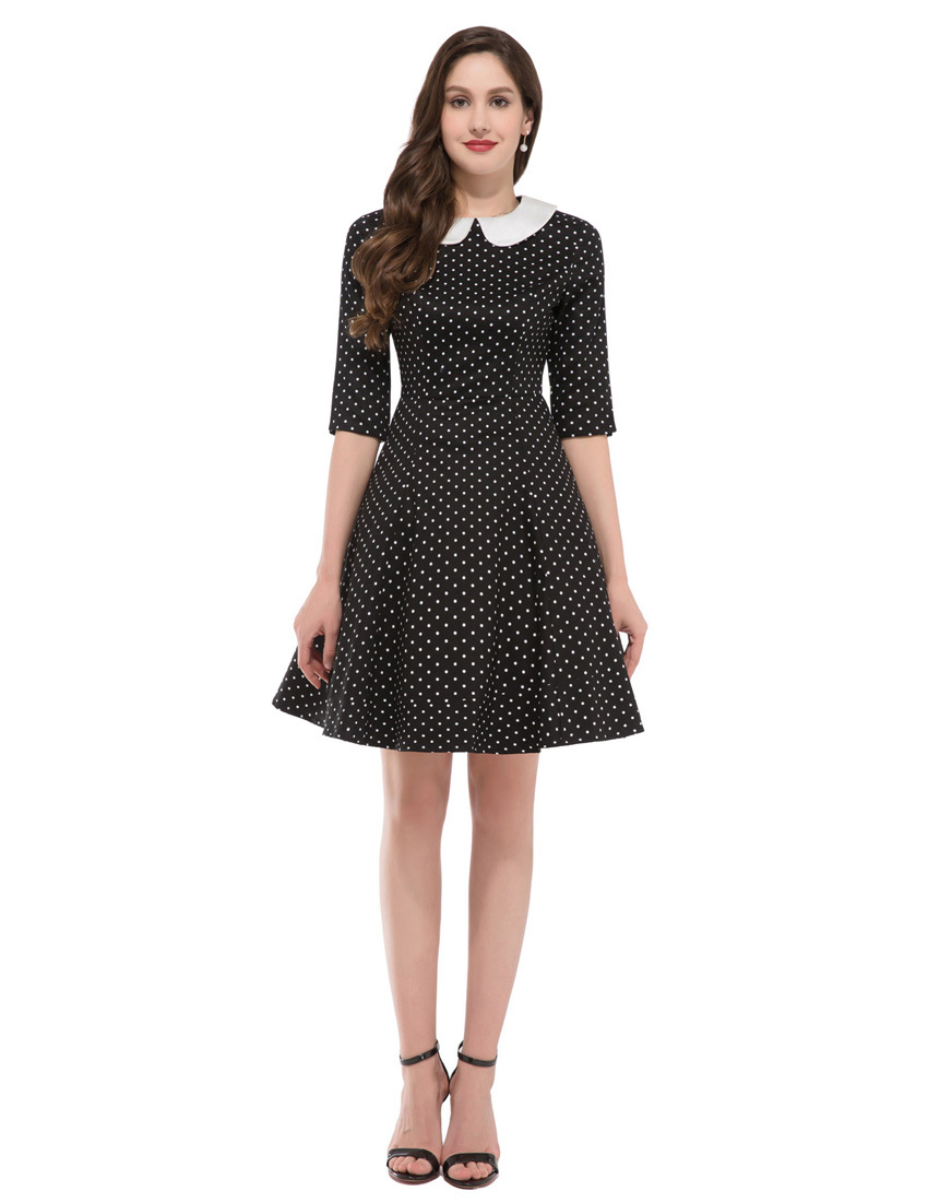 Curvy Fashionista Black Polka Dot Dress Blue Polka Dot Dresses