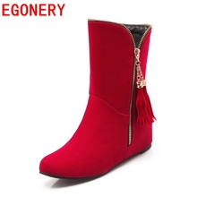 2015 new fashion nubuck leather winter boots wedges low heels tassel boots sport red black women boots round toe woman shoes(China (Mainland))