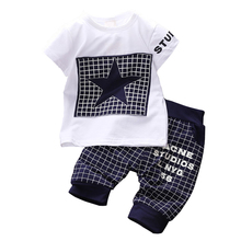 Baby boy clothes 2015 Brand summer kids clothes sets t shirt pants suit clothing set Star