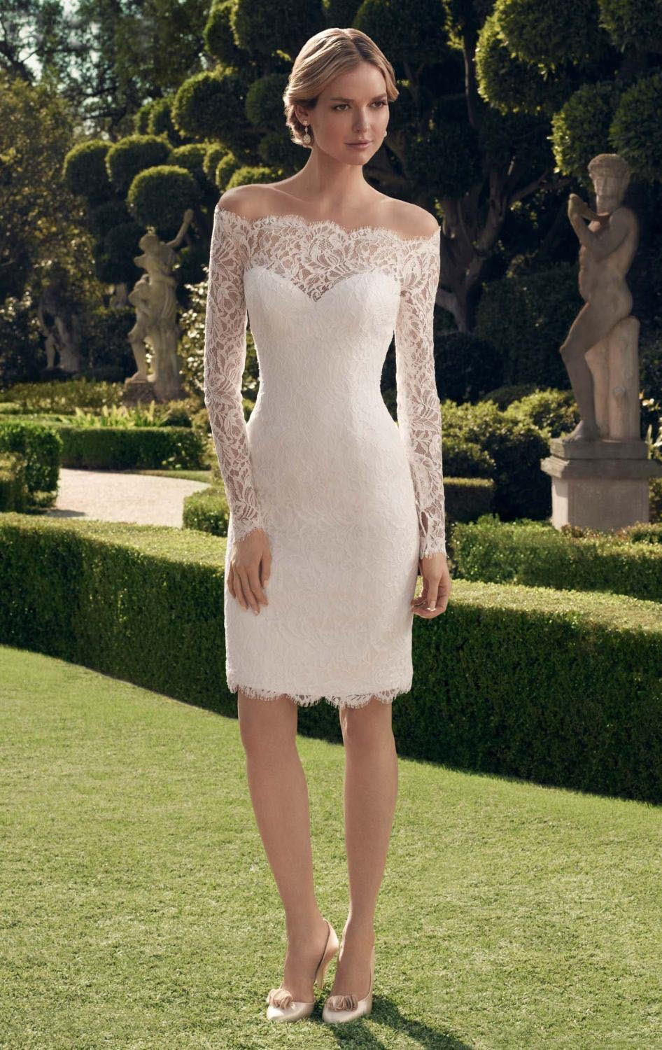 fashion simple short wedding dress 2016 boat neck long ...