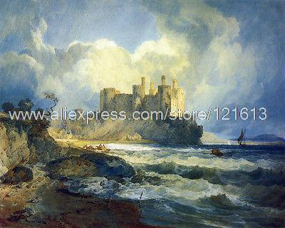 Turner Joseph Conway Castle North Wales On Canvas Canvas Decoration Pictures On The Wall Monroe Children'S Room Back(China (Mainland))