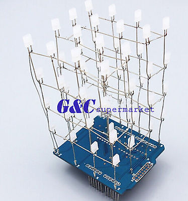 4X4X4 Light Cube Kit shield LED DIY suite Kit Blue(China (Mainland))